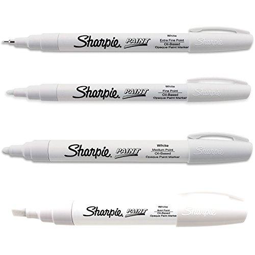 Sharpie Paint Marker Oil Based White All Sizes Kit with Ex Fine, Fine, Medium & Bold