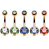 BodyJ4You 5PC Belly Button Rings 14G Crystal Rose Goldtone Stainless Steel Curved Navel Barbell Set