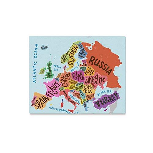 Rtosd Wandkunst Malerei Europa Karte Dekorative Typografie Poster Drucke Auf Leinwand Das Bild Landschaft Bilder Öl Für Zuhause Moderne Dekoration Druck Dekor Für Wohnzimmer