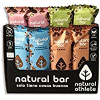 Barritas Energéticas 4 Sabores Natural Athlete Sin Azúcar Añadido, 100% Natural, Sin Gluten, Vegana, Sin Aceite de Palma -Pack 12x40 g
