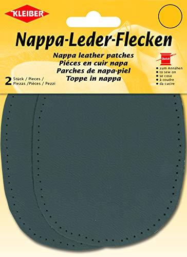 Kleiber + Co.GmbH Nappa-Lederflecken, echt Leder, dunkelgrau, ca. 12,5 cm x 10 cm