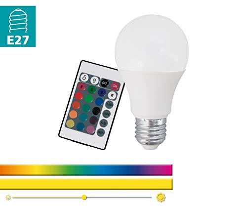 EGLO RGB-W LED E27 Lampe, Glühbirne mit RGB und Warmweiß Funktion, 7,5 Watt (entspricht 40 Watt), 470 Lumen, E27 LED dimmbar, RGB LED, Lampe mit Fernbedienung, LED Leuchtmittel A60, Ø 6 cm