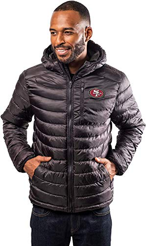 Ultra Game NFL San Francisco 49ers Mens Full Zip Puffer Jacket, Black, X-Large