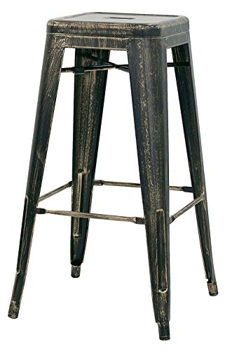 Brianza Outlet Old Stool kruk in industriële look, metaal, bruin, 30 x 30 x 76 cm