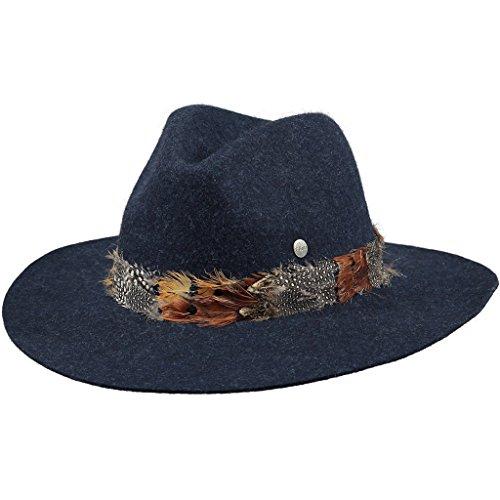 Barts Barts Damen Fedora Alexia Hat, Blau (Blu Scuro Con IL Nastro DI Piume Multicolore ), M