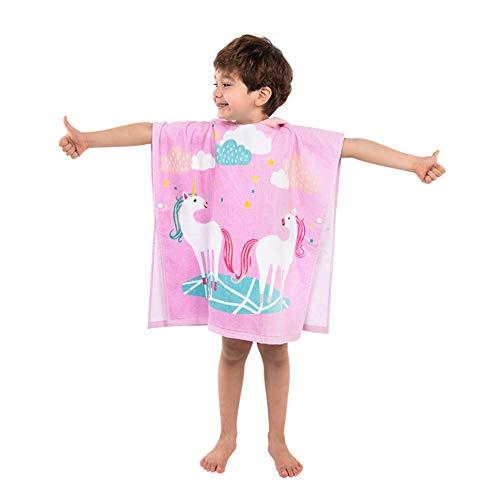 Kapuzenbadetücher Badeponcho Kinder 100% Baumwolle Kapuzenponchos Handtuch mit Kapuzen Kapuzenhandtücher Strandtuch Badetuch Bademantel Schwimmen Weich Warm Motiv für Mädchen Jungs Baby (Einhorn)