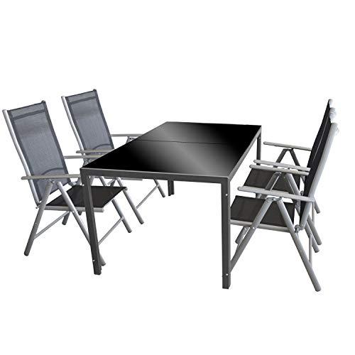 Wohaga 5tlg. Gartengarnitur Glastisch 'London', 150x90cm Anthrazit + 4X Hochlehner 'Miami', Aluminium Silbergrau, Textilenbespannung Schwarz