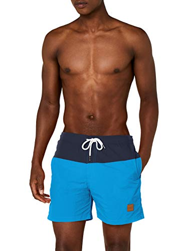 Urban Classics Block Swim Shorts Bañador, Multicolor (Nvy/Turquoise), Medium para Hombre