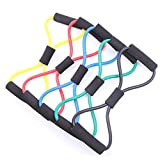 CHARS 5 Pack Resistance Exercise Band, Figure-8Exercise Loop Band with Handles Stretch Fitness Band Exercise Cords