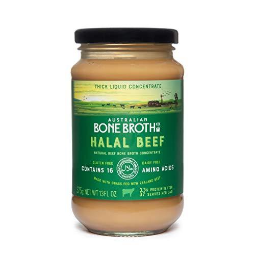 Halal Beef Bone Broth Concentrate- Natural Beef- Gluten, Dairy Free. Nueva Zelanda Carne de res alimentada con pasto. Tarro de 375 gramos