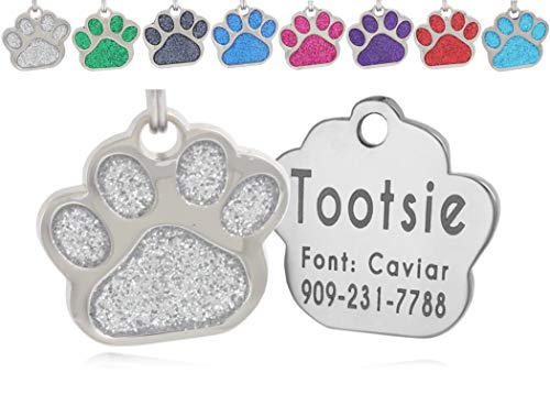 io tags Pet ID Tags, Personalized Dog Tags and Cat Tags, Custom Engraved, Easy to Read, Cute Glitter Paw Pet Tag (Silver)