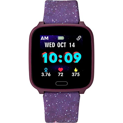 iConnect by Timex Kids Active Smartwatch with Heart Rate, Notifications & Activity Tracking 37mm – Purple with Purple Galaxy Resin Strap