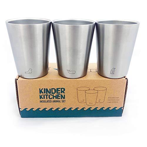 'Meerestiere' roestvrijstalen beker (200ml/x3) | koude en warme dranken | BPA-vrij, vaatwasserbestendig, stapelbaar, dubbelwandige metalen beker | stalen mokken voor kinderen, koffie en kamperen