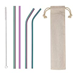 【Healthy & Safe】Made of food-grade 18/8 stainless steel, No metal aftertaste, plastic free, dishwasher safe, reusable and environmentally friendly. 【Widely Use】Set of 4pcs extra long stainless straws (2 bent + 2 straight), total length of 8.5inch, pe...
