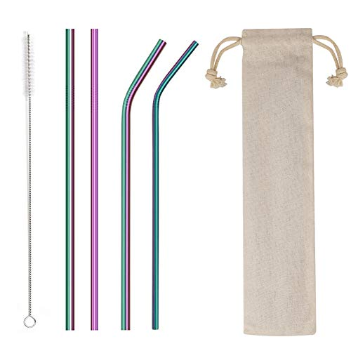 """4PCS Reusable Metal Straws,8.5"""" Stainless Steel Straws with Case -Cleaning Brush for 20/30 Oz for Tumblers (rainbow)"""