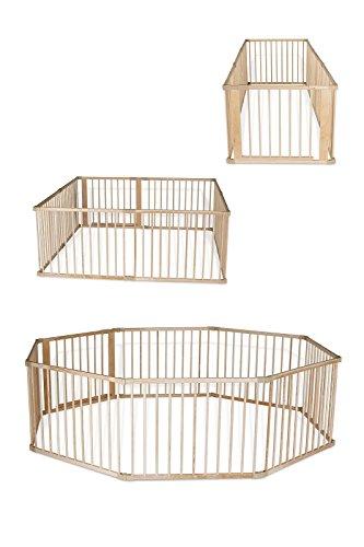 Dibea DP00582 - Box pieghevole in legno per neonati e bambini piccoli, con porta, Marrone, 8 elementi da 90 x 68 cm