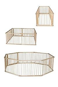 dibea DP0085, Parque para bebés y niños pequeños, Madera Parque con Puerta, Altura 68 cm (tamaños) (8 Elemente, je 90x68 cm)