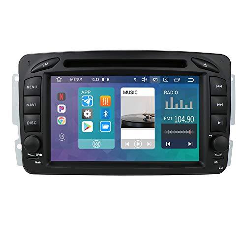 Android 10 Autoradio 7 Pulgadas para Benz A-W168/C-W203/Viano/G-W463/Vito/Vaneo/CLK-C209/W209 Benz Radio GPS Control del Volante Bluetooth DVD WiFi 4G RDS DSP Entrada de Vista Trasera USB Botones LED