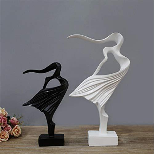 DJMDF Resina Pareja Figuras Estatuas Abstractas Decoración del Hogar TV Gabinete Vino Gabinete Estudio Artesanías Adornos@Blanco Y Negro Decoración