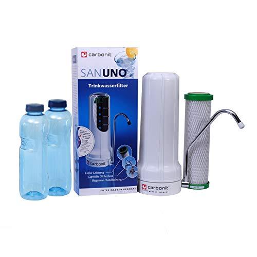 Carbonit Wasserfilter Komplettset | Auftisch Sanuno Classic | sofort einsatzbereit | mit hochwertiger carbonit NFP-Patrone | hohe Filterwirkung | Gratis: 2 Blaue Tritan-Flaschen 0,75 l | BPA-frei
