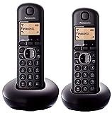 Panasonic KX-TGB212SPB - Teléfono fijo digital (DECT Dúo, función alarma/despertador, 6 melodías de timbre, Identificación de llamada entrante), Negro, TGB21 Duo