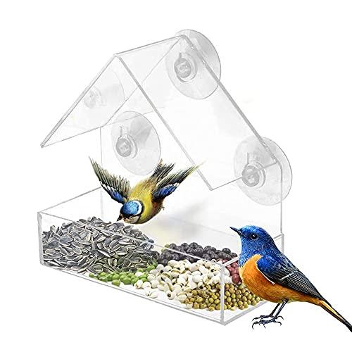 LQKYWNA Vogelfutterhaus, Transparente Vogelhaus zum Aufhängen mit 3 Saugnäpfen, Vogelhaus Balkon, Abnehmbaren Plastik Vogelfutterspender