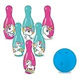 Mondo Toys - Set da Bowling Unicorn per bambini - INCLUDE 1 palla e 6 Birilli tema Unicorn - giocattoli di Sport - gioco per bambini 2 3 4 Anni - 28526