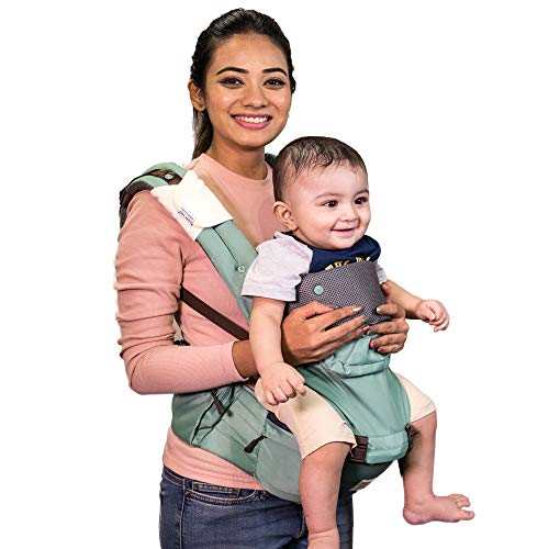 Polka Tots Ergonomic Baby Hip Seat / 6 in 1 Baby Carrier with Airbag Seat and Adjustable Waist and Excellent Lumbar Support, Highly Suitable for C Section Mothers, with Trendy Carry Bag (Green)
