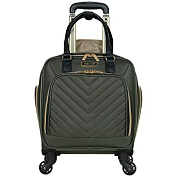 Kenneth Cole Reaction Women s Chelsea Collection 17  Chevron Quilted Softside 4-Wheel Spinner Underseater Carry-On Suitcase Olive