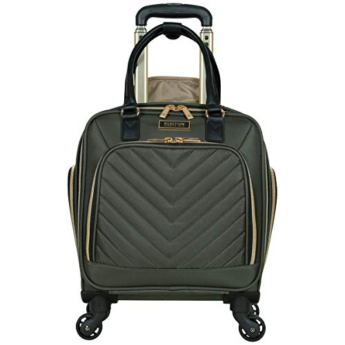 """Kenneth Cole Reaction Women's Chelsea Collection 17"""" Chevron Quilted Softside 4-Wheel Spinner Underseater Carry-On Suitcase, Olive"""