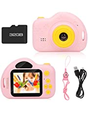 HUANHUA Kids Camera ,Mini Digital camera with 32GB TF Card, Rechargeable Selfie Child Camcorder with 2.0 inch Screen,1080P Dual Lens, Birthday Gift Toys for Boys Girls Age 3-10 Years Old