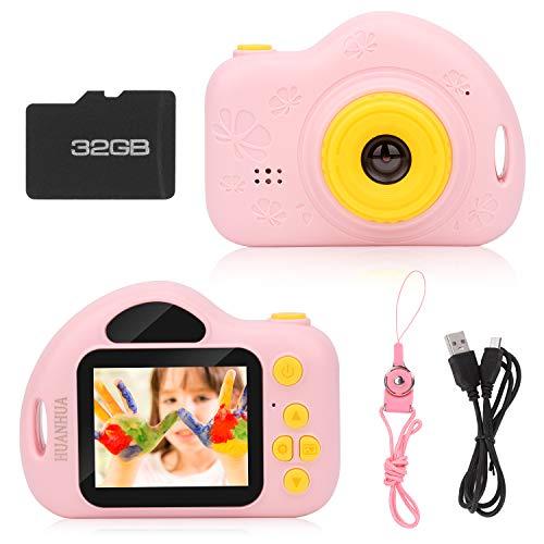 HUANHUA Kinder Kamera ,Digitale Kamera für Kinder mit 32G TF-Karte,wiederaufladbare Selfie Digital-Camcorder 2,0 Zoll Bildschirm HD 5MP/1080P Doppellinse für Jungen, Mädchen, Alter 3-10