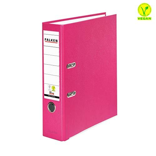 Original Falken PP-Color Kunststoff-Ordner. Made in Germany. 8 cm breit DIN A4 Pastell-Farbe pink Ringordner Vegan Aktenordner Briefordner Büroordner Plastikordner Schlitzordner