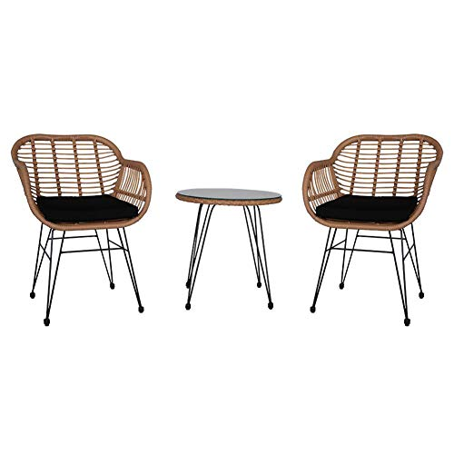 XM&LZ 3 PCS Patio Table Chair Set,Garden Wicker Rattan Chairs Set,Conversation Set With Tempered Glass Table Outdoors, 2 Chairs+1table