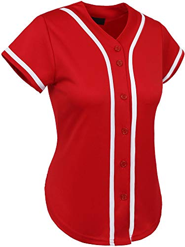 Hat and Beyond Womens Baseball Button Down Athletic Tee Short Sleeve Softball Jersey Active Plain Sport T Shirt (Medium, 3up01 Red/White)
