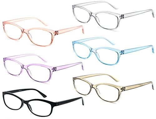 CAWINT Un Pack de 6 Gafas de Lectura,Mujeres Gafas para Presbicia,Montura de Gafas de Gato Moderna,Ligero con Bisagra Fuerte,con Paño de Gafas