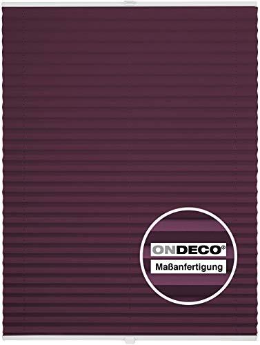 Plissee auf Maß Fenster Montage innen Sonnenschutz Plisseerollo Blickdicht Dachfenster Verdunkelung Violett B: 91-100 cm, H: 101-150 cm
