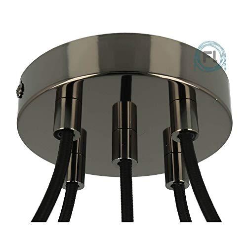 Flairlux All-in-One Baldachin für Lampe 5 Loch Metall schwarz metallic rund 120x25mm inkl Wago Klemmen, Klemmnippel zylindrisch