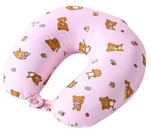 Ostrich Pillow Kinder Bären-Karikatur U-förmige Kissen Studenten Nap Kissen tragbare Reise U-förmige Kissen (Farbe: Pink) (Color : Pink, Size : -)