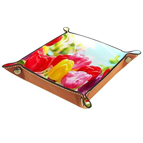 Plateau de voiturier, fourre-Tout en Cuir PU, Organisateur de Plateau, boîte de Rangement pour Montres Bijoux pièces Porte-clés Tulipes Jardin de Fleurs