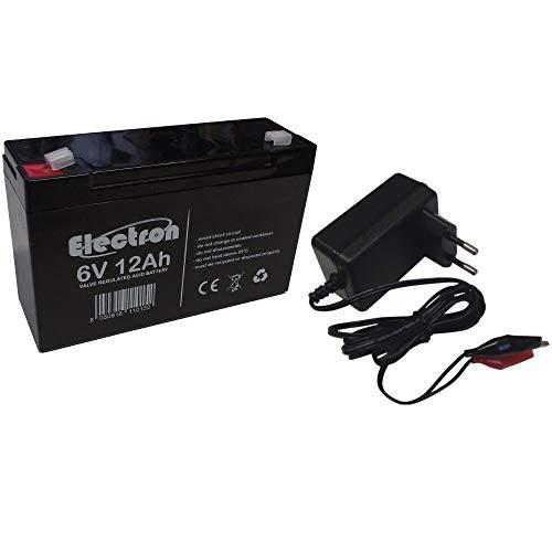 Batteria al piombo 6V 12Ah (può sostituire 6v 10Ah) con caricabattterie incluso ricambio per giocattoli auto moto quad peg perego