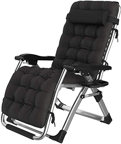 Lhak Sillón reclinable al Aire Libre Colchonetas, sillas portátiles, Cojines, Patio Interior y Exterior terraza en el jardín, sillas Plegables de Cubierta (Color : Black)