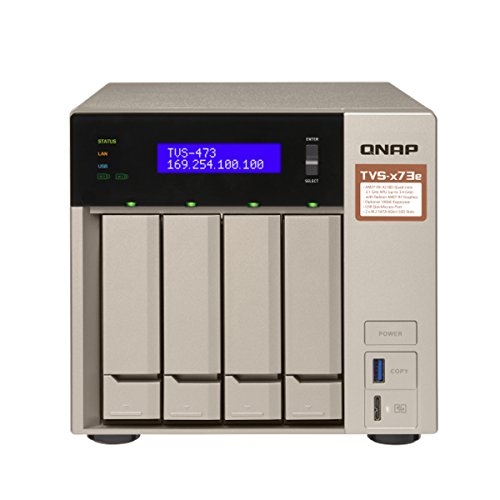 QNAP TVS-473e-8G-US 4-bay NAS/iSCSI IP-SAN, AMD R series Quad-core 2.1GHz, 8GB RAM, 10G-ready