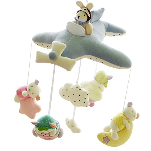 SHILOH Baby Crib Decoration 60 tunes Lullabies Plush Musical Mobile (Blue Plane)