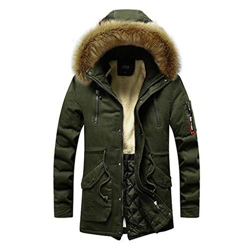 HROIJSL Herren Winter Mittellanger Hoodie Verdickt Plus Size Cotton Padded Jacket Coat Casual Weinlese Baumwollleinen Kapuzemantel Poncho Kap Mantel Wolljacke Trenchcoat Walk-Kurzmantel