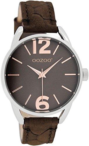 Oozoo Reloj de pulsera para mujer y niños con correa de piel, 38 mm, marrón oscuro/marrón oscuro JR283
