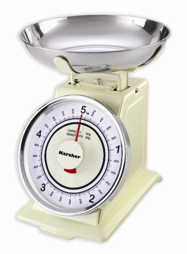 Karcher WAK 811 Mechanische Retro Küchenwaage, max. Wiegekapazität 5 kg, magnolia