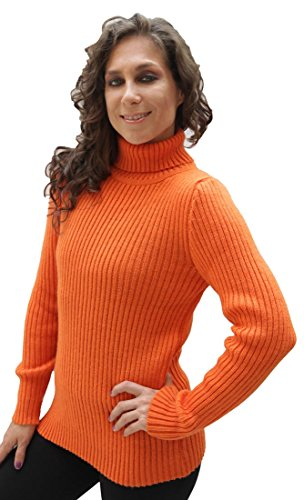 Women's Soft Alpaca Wool Knitted Turtleneck Ribbed Sweater (Small, Orange)