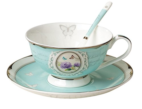 Teetasse aus hochwertigem Porzellan inkl. Untertasse und Löffel - Türkis - Vintage - Landhausstil - Barock