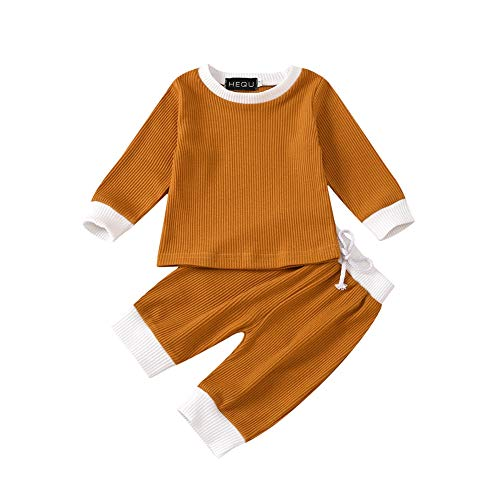 Teblacker Baby Girls Boys Clothes Cute Ruffle Sleeve Newborn Solid Color Knitted Outfits Pajamas Sets (110, Brown-Stripe)